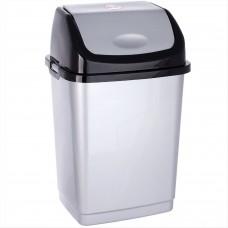 Ведро для мусора КАМЕЛИЯ №2 8л (уп.20) серебристый перламутр/чёрное